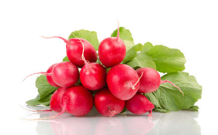 A Bunch of Fresh Radishes Isolated on White Background Stock Photo