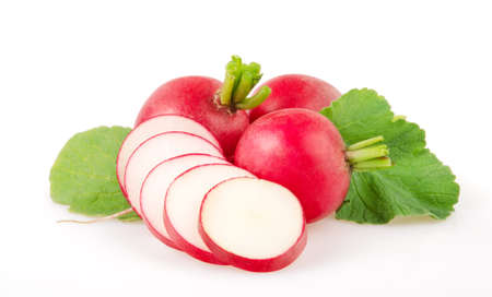 Fresh Red Radishes Isolated on White Background