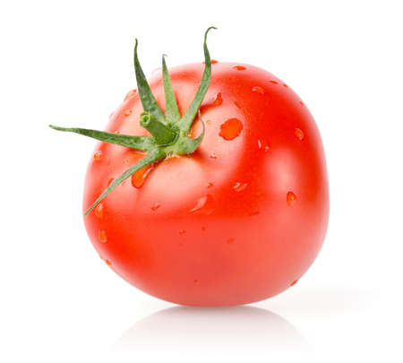 Fresh Tomato with Drops Isolated on White Background