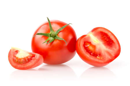 Tomato and Slices Isolated on White Background