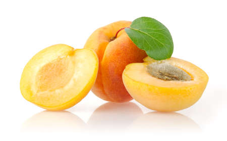 Ripe Apricots Isolated on White Background