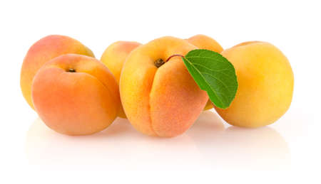 Ripe Apricots with Leaf Isolated on White Background Stock Photo