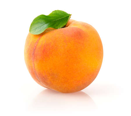 Single Peach with Leaf Isolated on White Background