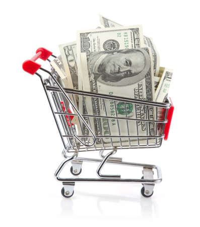 push cart: Dollars in Shopping Cart Isolated On White Background Stock Photo