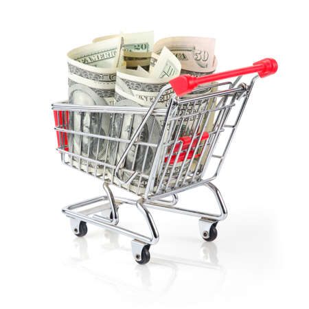 Dollars in Shopping Cart Isolated On White Background Archivio Fotografico