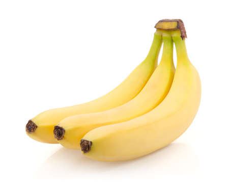 Three Ripe Bananas Isolated on White Background Stock Photo