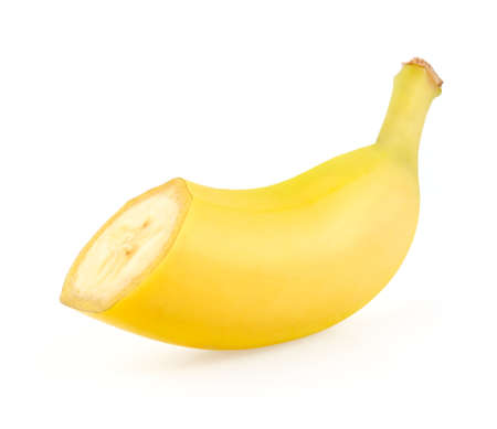 Cross Section of Banana Isolated on White Background Stock Photo