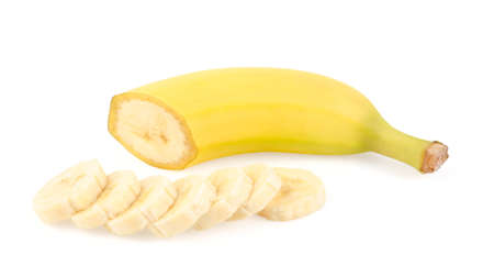peeled banana: Ripe Yellow Banana and Slices Isolated on White Background