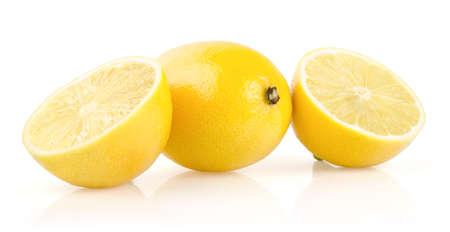 Lemon with Half Isolated on White Background