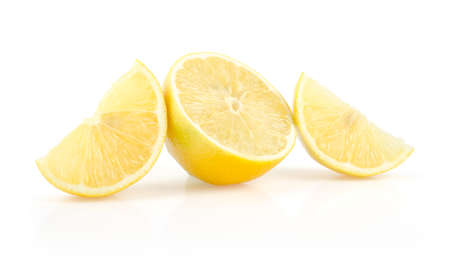 Lemon Slices and Half Isolated on White Background