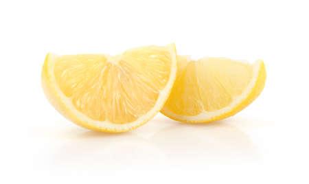 Lemon Slices Isolated on White Background Stock Photo