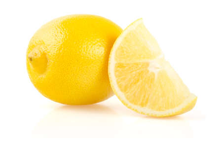 Lemon and Slice Isolated on White Background