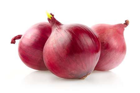 Red Onion Bulbs Isolated on White Background Stock Photo