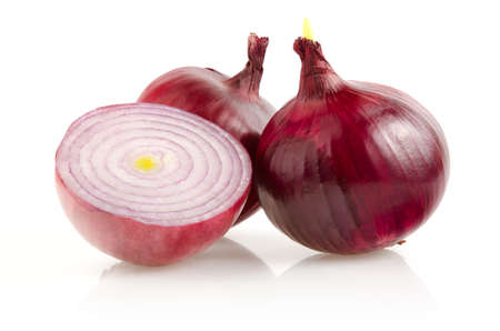 Red Onion with Half Isolated on White Background Stock Photo