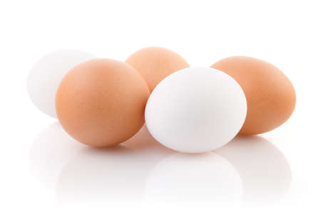 Five eggs on white background with clipping path Stock Photo