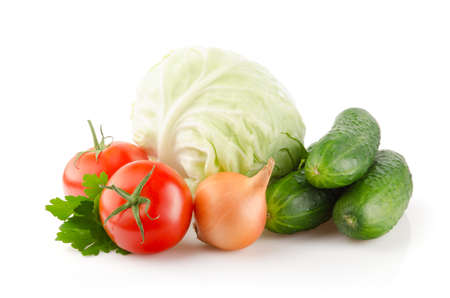 Fresh Tomatoes, Cucumbers, Cabbage, Onion and Parsley isolated on white background