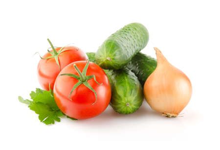 bulb and stem vegetables: Fresh Tomatoes, Cucumbers, Onion and Parsley isolated on white background Stock Photo