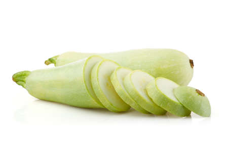 marrow squash: Fresh marrow squash and slices isolated on white background