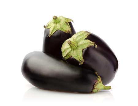 Three Fresh Eggplant isolated on white background