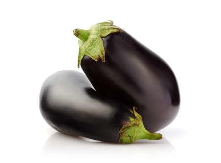 Two Fresh Eggplant isolated on white background