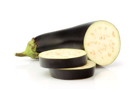 Fresh Eggplant and slices isolated on white background