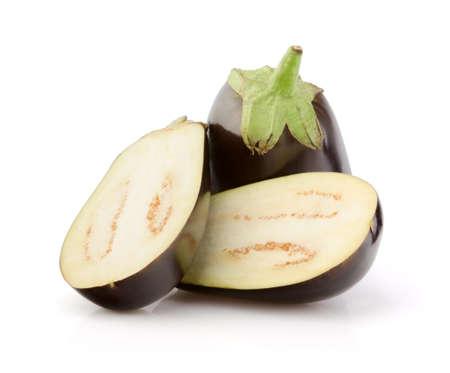 Fresh Eggplant with half isolated on white background Stock Photo