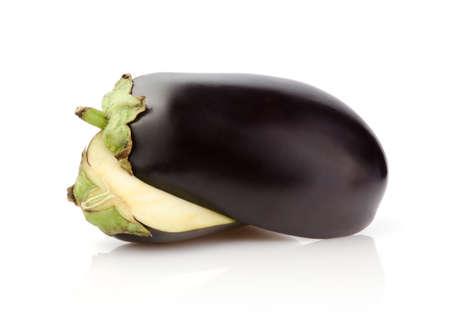 Half Eggplant isolated on white background