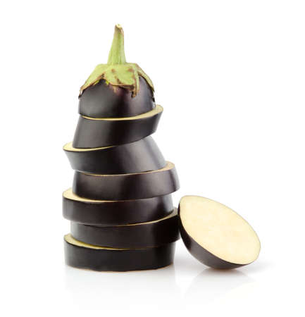 Stack of Eggplant slices isolated on white background Stock Photo