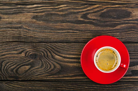 Cup Coffee on old wood background