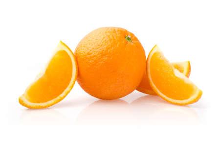 Orange and Slices Isolated on White Background
