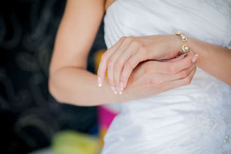 bride bangle: Brides hands with ring Stock Photo