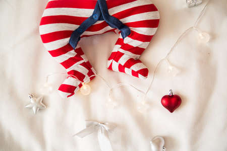 Christmas baby foot on a white background Stock Photo