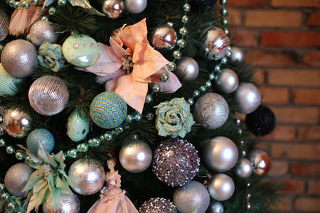 Decorating Christmas tree close up, use for Christmas and New years celebration background Stock Photo