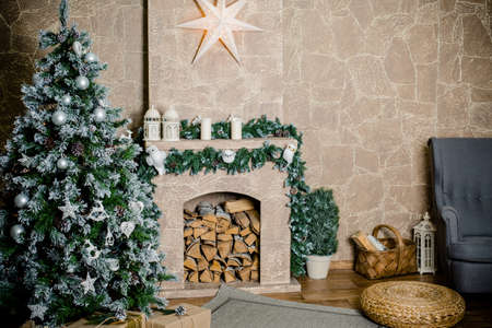 classic christmas decorated fireplace and christmas tree stock photo 64797290 - Classic Christmas