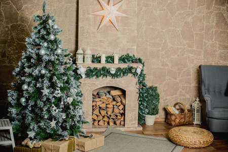 hearthside: Classic christmas decorated fireplace and christmas tree Stock Photo