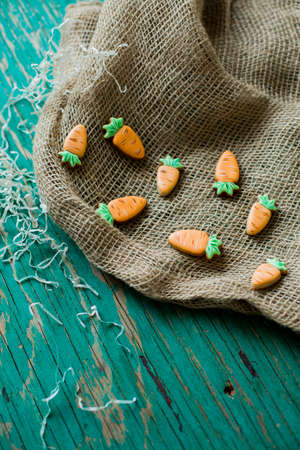 ginger cookies in the shape of a carrot for Easter Stock Photo