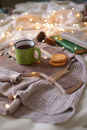 Christmas composition with a cactus tray and a cup, flat lay Imagens