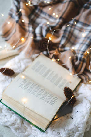 Christmas composition. plaid garland book , Flat lay