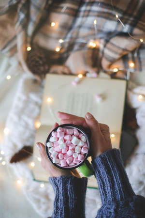 Christmas composition. garland book and marshmallow mug.