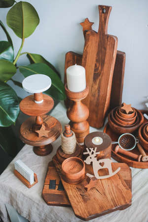 wooden decor for the kitchen and photo shoots. decor in the form of candlesticks, cladding boards, dishes for a wooden store