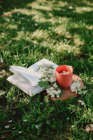 Black tea, candy hearts and flowers on a wooden tray. Imagens - 148797605
