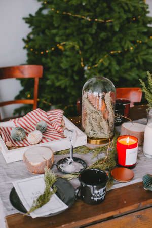 Christmas decor in the interior. christmas table setting