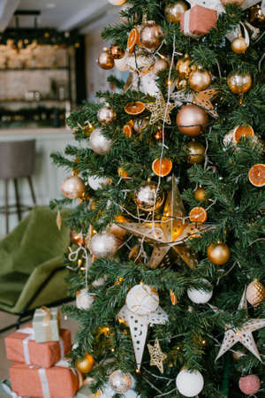 christmas decorations on christmas tree, holiday concept