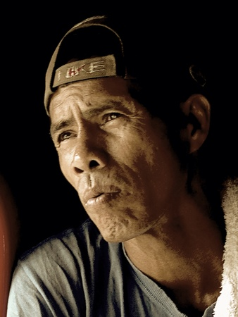 fish vendor: Portrait of a Filipino man Stock Photo