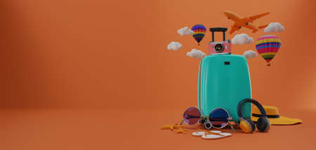 Traveling suitcase with smartphone and travel accessories. travel concept. 3d rendering.