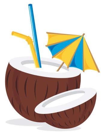 beach drink: Coconut Cocktail Drink Illustration