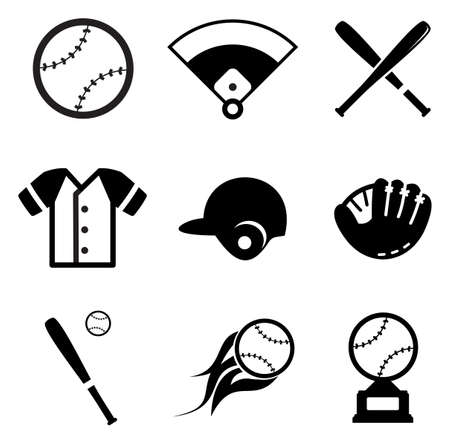 baseball game: Baseball Icons Illustration