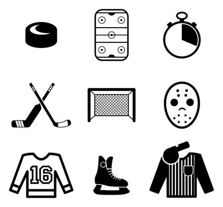 ice hockey player: Hockey Icons Illustration