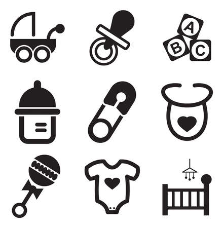 black baby boy: Baby Stuff Icons Illustration