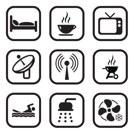 motel: Motel Or Hotel Icons Illustration